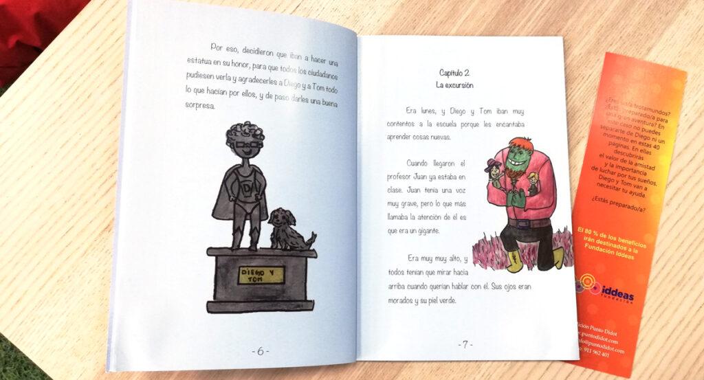 Libro abierto por las páginas 6 y 7. En la de la izquierda hay una ilustración de una estatua del niño protagonista con su perro. En la de la derecha vemos a un gigante de piel verde que lleva en sus brazos a niños.