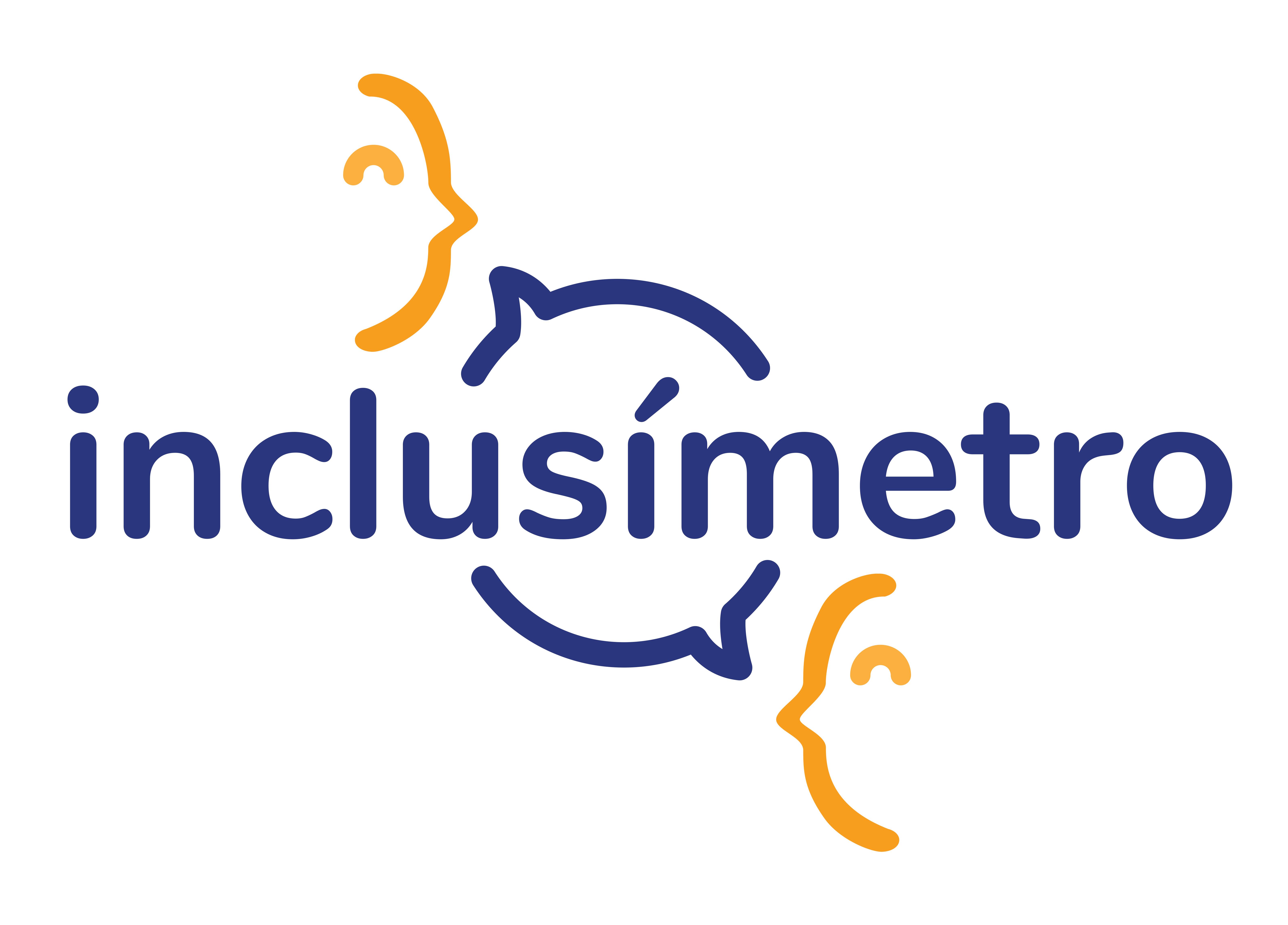 """Logotipo de Inclusímetro. La palabra """"inclusímetro"""", escrita toda en minúsculas en azul marino. A ambos lados de la palabra, dos perfiles de personas, cada una con un globo que sale de su boca que indica que están dialogando."""