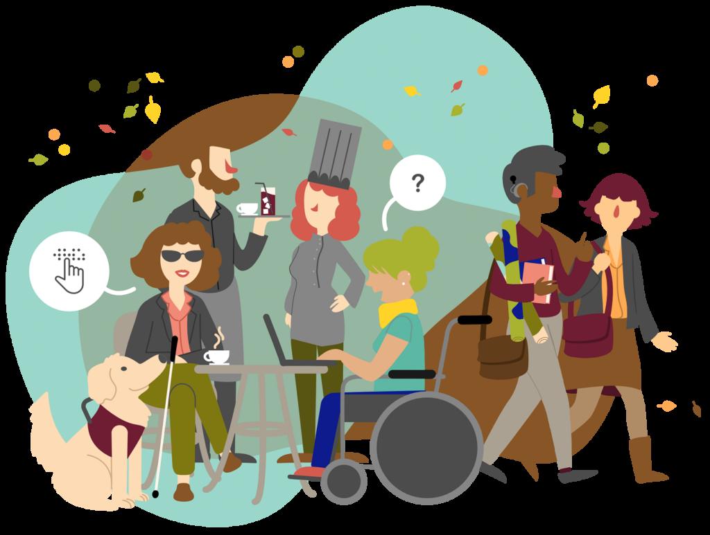 Ilustración de un grupo de personas interactuando entre ellas. Al fondo se ven un camarero y una chef de cocina. Frente a ellos, una mujer usuaria de bastón blanco y gafas negras, junto a su perro guía, dialoga con otra mujer usuaria de silla de ruedas. Caminando, un hombre con implante coclear que lleva libros y documentos enrollados en su mano habla con una mujer.