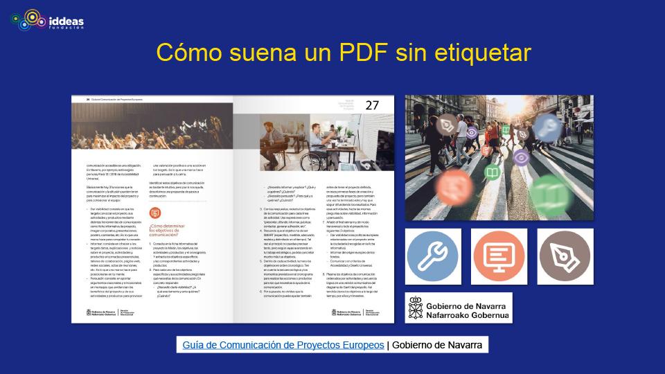 Diapositiva con el título Cómo suena un PDF sin etiquetar y distintas imágenes de la Guía de Comunicación de Proyectos Europeos.